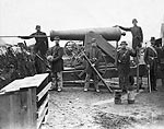 Soldiers of 4th New York heavy Artillery loading 24-pdr. siege gun Photo